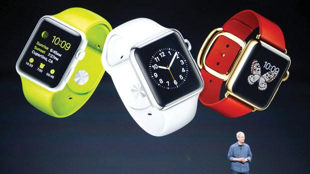Apple CEO Tim Cook speaking about the Apple Watch during its launch at the Flint Centre in Cupertino, California. Photo: Stephen Lam/Reuters