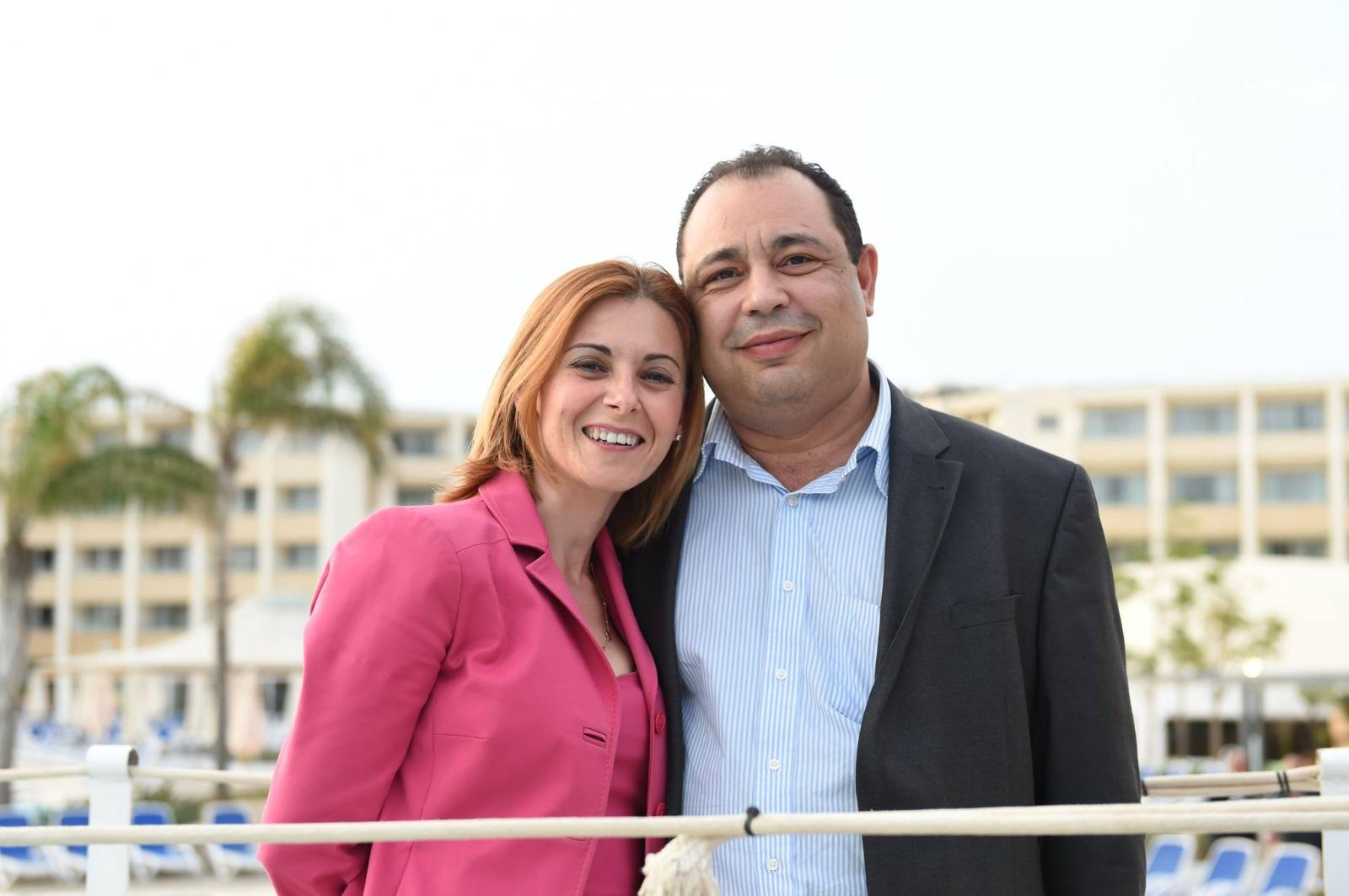 Former Gozo minister Justyne Caruana with ex-deputy police chief Silvio Valletta.