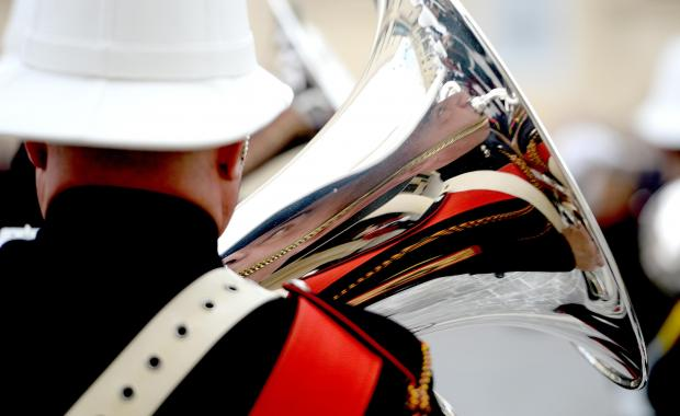 A member of the Armed Forces of Malta band is reflected in his instrument during the changing of the guard at St George's Square, Valletta on January 26. Photo: Matthew Mirabelli