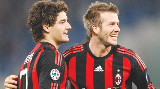 David Beckham (right) with Milan team-mate Alexander Pato.