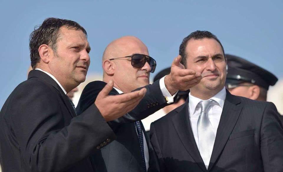 Mr Gambin with his lawyers Mario Mifsud and Franco Debono.