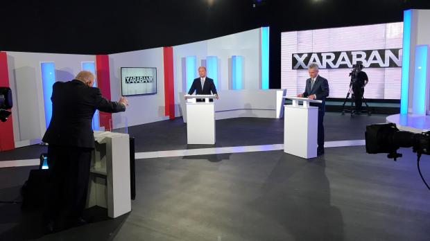 The two political leaders faced one another on Xarabank. Photo: Mark Zammit Cordina