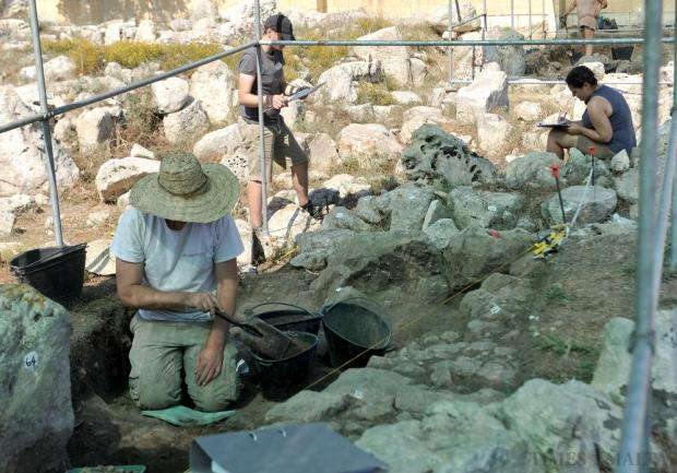Archaeologists carry out excavations at the Kordin Neolithic temples on July 9. Photo: Chris Sant Fournier