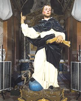 The 17th-century statue of St Dominic before conservation treatment.