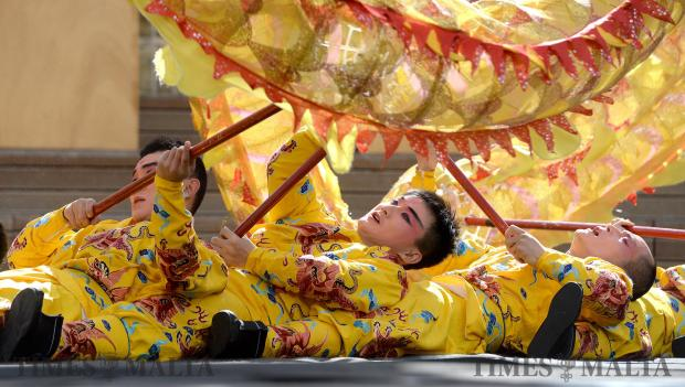 Members of the Zhejiang Wu Opera Troupe perform at the Pjazza Teatru Rjal in Valletta on February 13 to celebrate the Chinese new year. Photo: Matthew Mirabelli