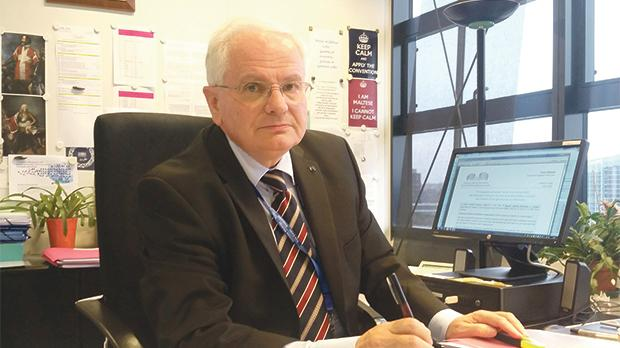 Chief Justice Emeritus Vincent  De Gaetano in his office at the ECtHR