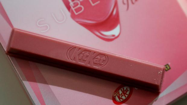 A KitKat Chocolatory Sublime Ruby is seen on a table at Nestle's Product Technology Centre in York