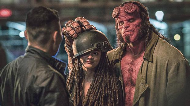 David Harbour (right) dons the shoes of Big Red in the new take on Hellboy.
