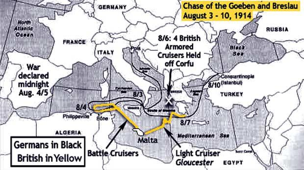 Map of chase of SMS Goeben and SMS Breslau, August 3-10, 1914. Photo: www.cityofart.net