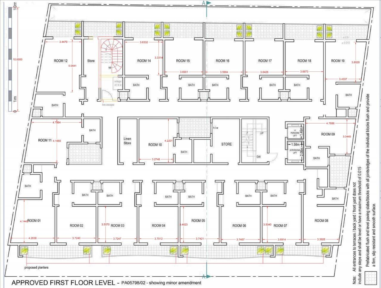 A plan of the Downtown Hotel rooms.