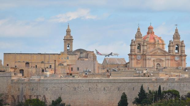 An Emirates airline passes over the Mdina Cathedral on November 09. Photo: Mark Zammit Cordina
