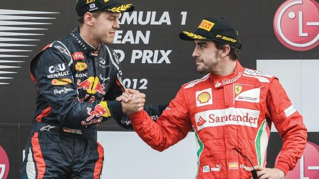 Red Bull's Sebastian Vettel (left) is set for a tough title battle with Fernando Alonso, of Ferrari.