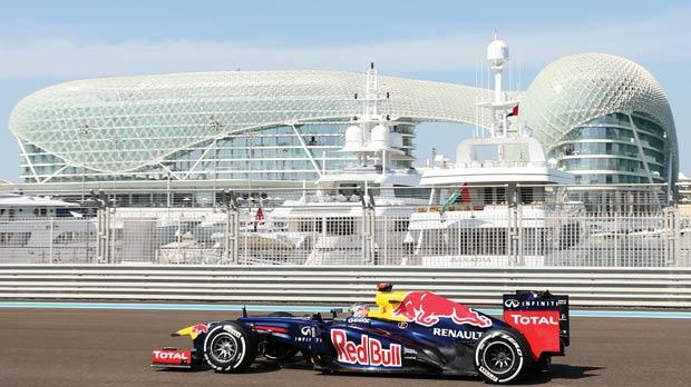 Red Bull's Sebastian Vettel drives during a practice session at the Yas Marina circuit, yesterday.