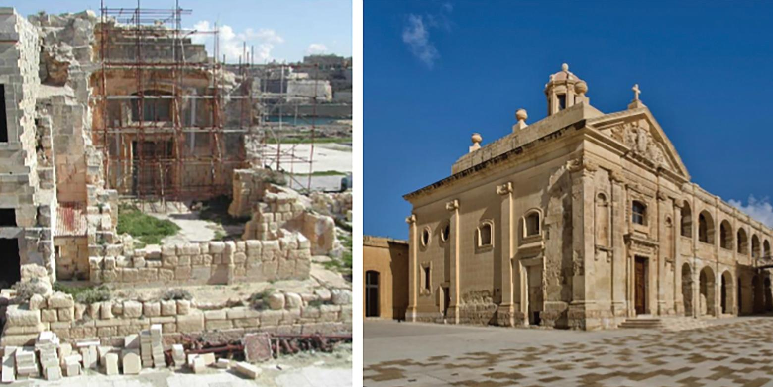 St Anthony's chapel before and after the restoration works.
