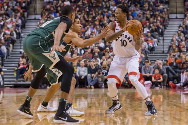 Toronto Raptors guard DeMar DeRozan (10) controls the ball as Milwaukee Bucks guard Malcolm Brogdon (13) defends during the second half at Air Canada Centre. Photo: Kevin Sousa-USA TODAY Sports