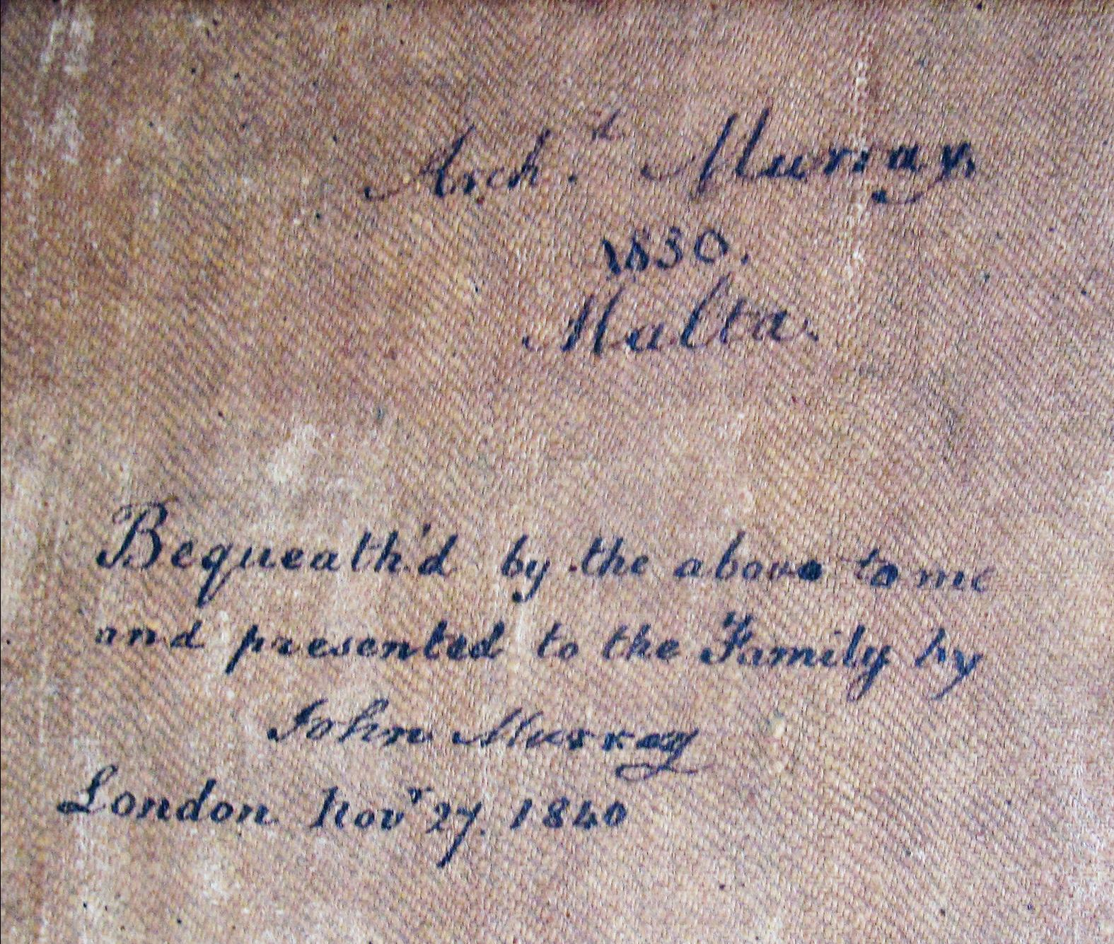 The text on the rear of Portrait of Archibald Murray.