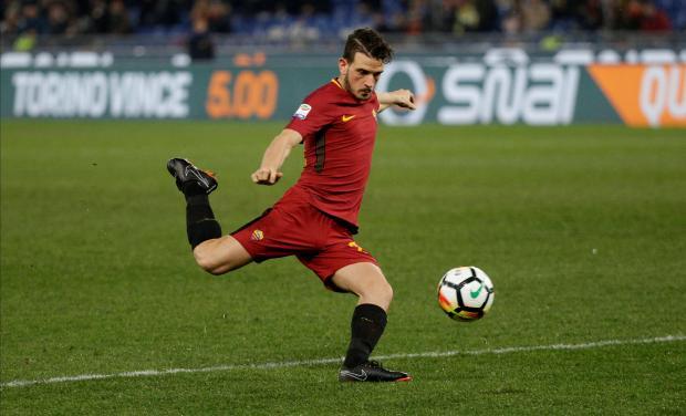 Roma's Alessandro Florenzi shoots at goal.