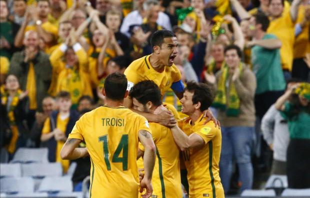 Australia's Tim Cahill (L) celebrates goal with team.