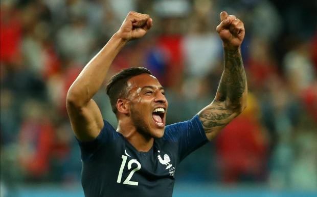 France's Corentin Tolisso celebrates victory after the match.