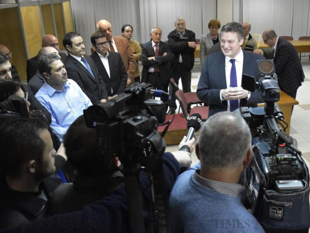 Konrad Mizzi is surrounded by members of the press moments after he was elected Deputy Leader of the Labour Party at the party headquarters in Hamrun on 25 February. Photo: Mark Zammit Cordina