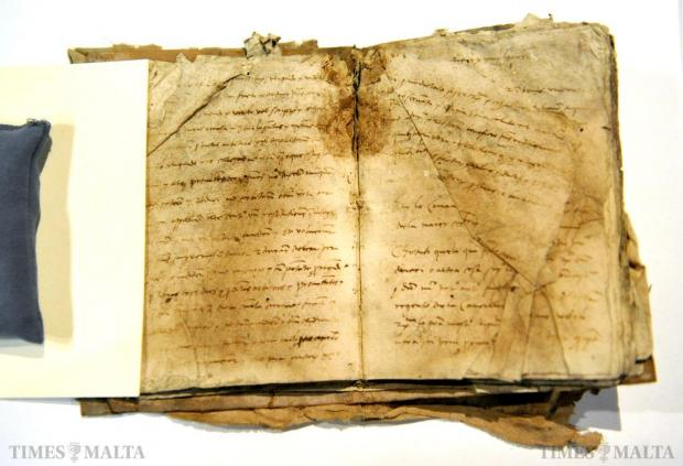 One of the documents of Bartholomeo Selvagii de Via, the very first notary of the Order of St John in Malta, whose works are to be restored through an Alfred Mizzi Foundation sponsorship announced on January 20. Photo: Jason Borg