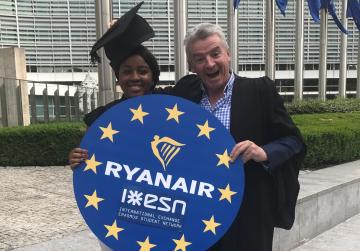 President of Erasmus Student Network, Safi Sabuni pictured with Ryanair CEO, Michael O'Leary in Brussels yesterday.