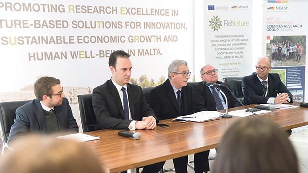 Education Minister Evarist Bartolo (centre) addressing the project launch in the presence of (from left) project coordinator Mario Balzan, parliamentary secretary Clifton Grima, Mcast principal James Calleja and deputy principal Alex Rizzo.
