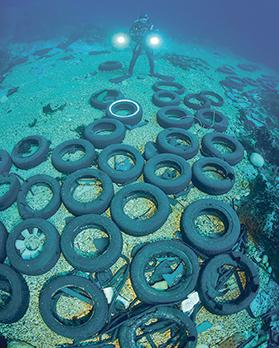 Tyres found on the seabed off the Maltese coast. Photo: Oceana/Carlos Minguell