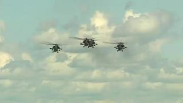 Russian helicopter crashes at air show