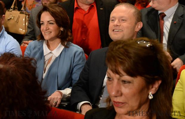 Prime Minister Joseph Muscat accompanied by his wife, Michelle arrive at the Labour Party's General Conference in Hamrun on April 23. Photo: Matthew Mirabelli