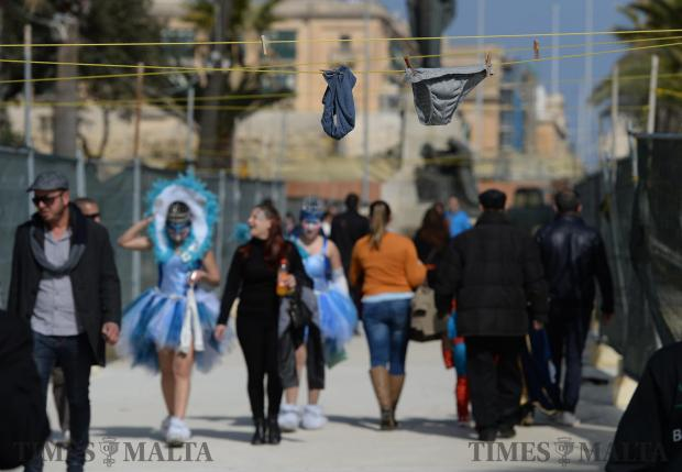 The carnival spirit around Valletta provoked some jokesters into turning overhanging ropes around the Phoenicia Hotel in Floriana into their own public washing line as seen on February 27. Photo: Matthew Mirabelli