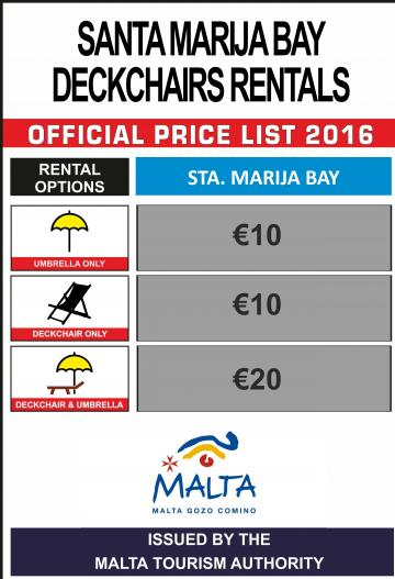 Santa Marija bay also has an official price list.