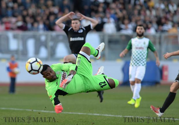 Floriana goalkeeper Ini Etim Akpan, makes a save during the BOV Super Cup final against Hibernians at the National Stadium in Ta'Qali on December 13. Floriana won the match 1-0 Photo: Matthew Mirabelli