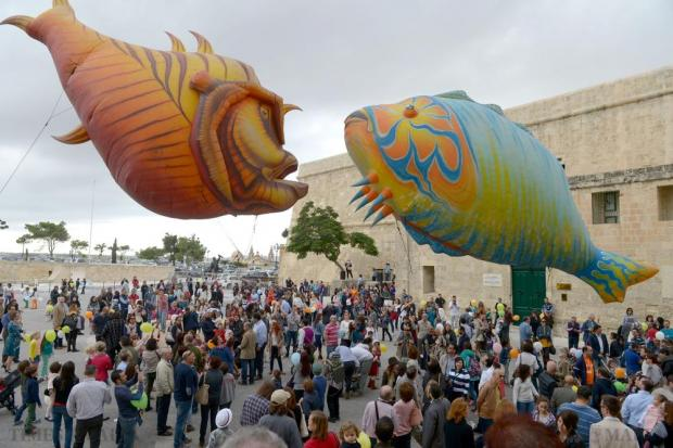 The children's art festival ZiguZajg comes to an end with a parade in Valletta on November 22. The giant inflated puppets Les Plasticiens Volants flew dreamlike over the public with actors operating them from the ground. Photo: Matthew Mirabelli