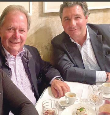Giorgio Veroni, right, having lunch in a Valletta restaurant with his friend Peter Darmanin.