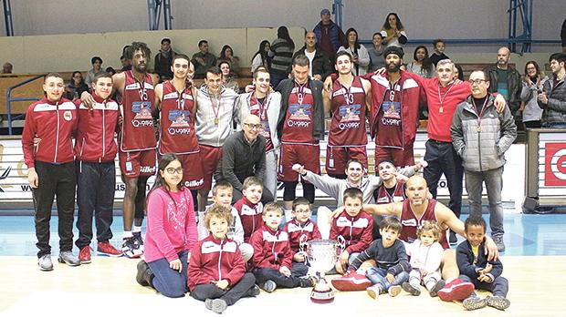 Gżira Athleta players and officials pose with the Louis Borg Cup on Sunday. Photo: Wally Galea