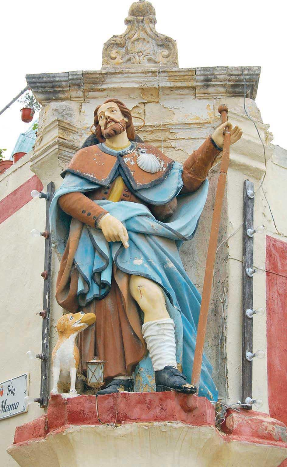 A very large votive statue of St Roque in Żebbuġ, Malta.