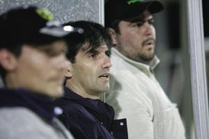 Carmel Busuttil (centre) with club officials on the Sta Lucija bench during Tuesday`s match.