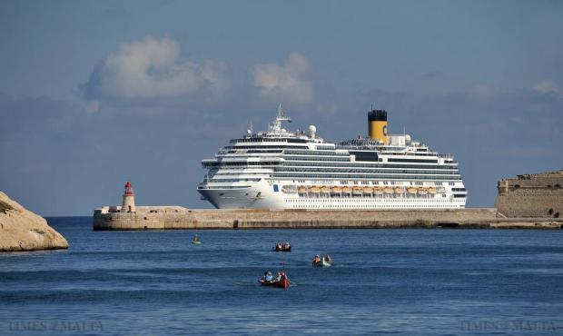 The cruise liner Costa Fascinosa, sister ship of the infamous Costa Concordia, approaches Grand Harbour on November 18. Photo: Chris Sant Fournier