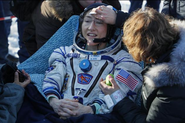 US astronaut returns to Earth after longest mission by a woman