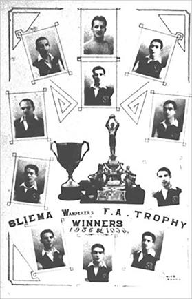A postcard issued in 1936 to mark Sliema Wanderers' victory over Floriana in the FA Trophy final.