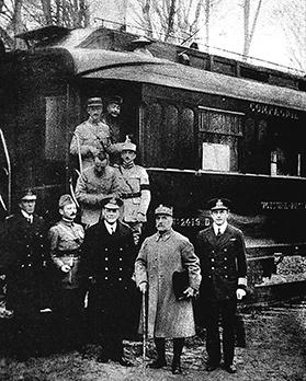 The armistice was signed between the Allies and Germany in the railway carriage of Marshal Foch's private train.
