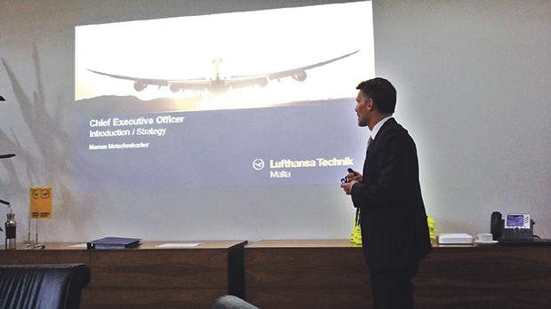 Lufthansa Technik Malta CEO Marcus Motschenbaher kicking off the strategy live case top-management meeting sessions at LTM, Luqa.