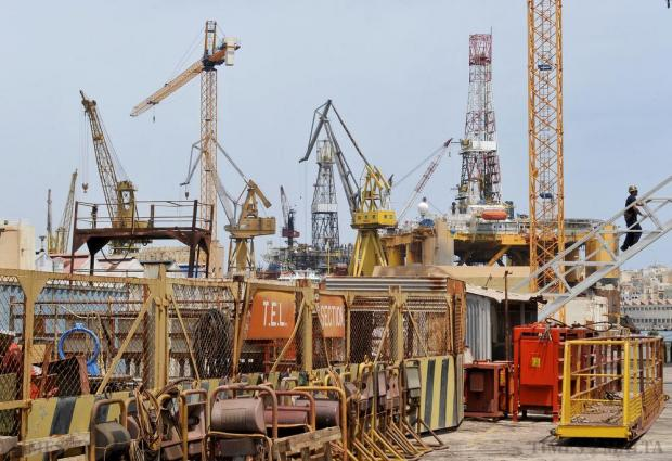 A jumble of cranes, rigs and other heavy machinery is seen at the Palumbo Shipyards on June 12. Photo: Chris Sant Fournier