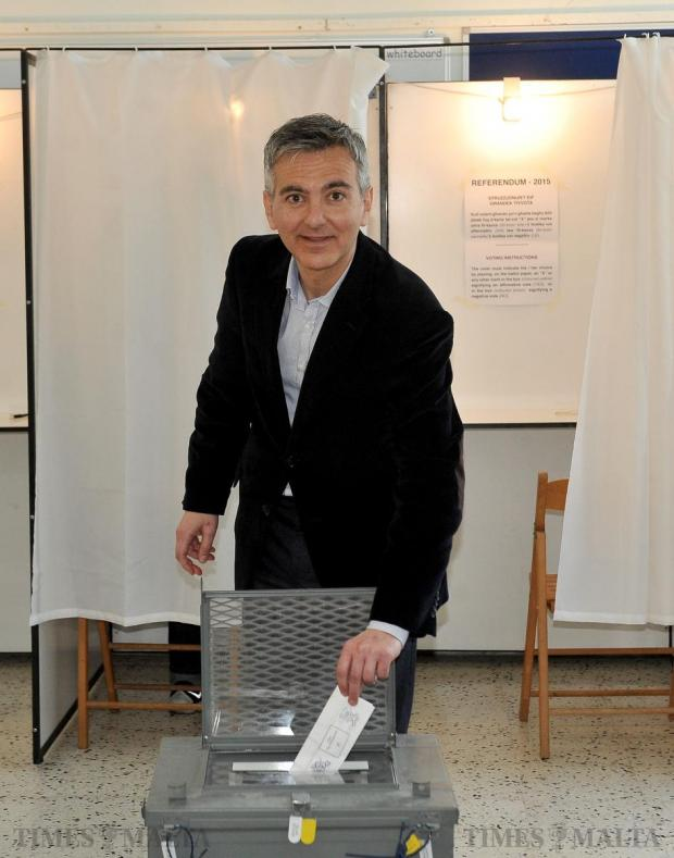 Nationalist Party leader Simon Busuttil casts his vote for the spring hunting referendum in Lija on April 11. Photo: Chris Sant Fournier