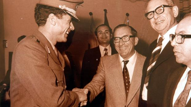 Welcomed by Prime Minister Dom Mintoff in November 1973. Photo: DOI