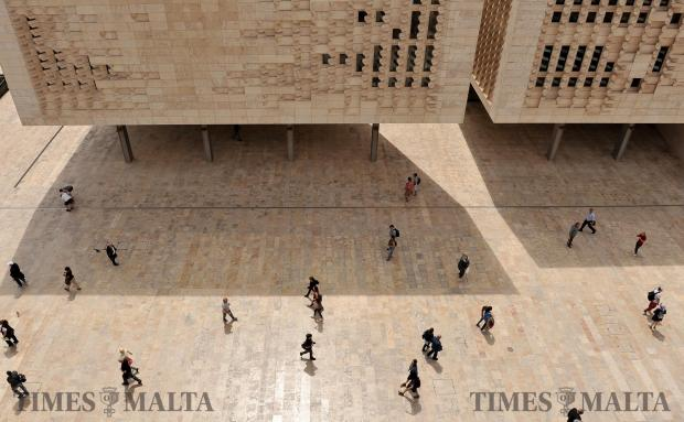 People walk down Republic Street in Valletta on May 2. Photo: Chris Sant Fournier