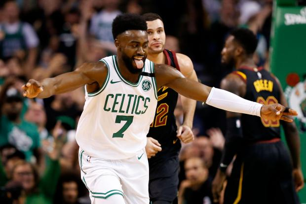Boston Celtics guard Jaylen Brown (7) reacts after a score against the Cleveland Cavaliers during the first quarter of game five of the Eastern conference finals of the 2018 NBA Playoffs at TD Garden. Photo Credit: Greg M. Cooper-USA TODAY Sports