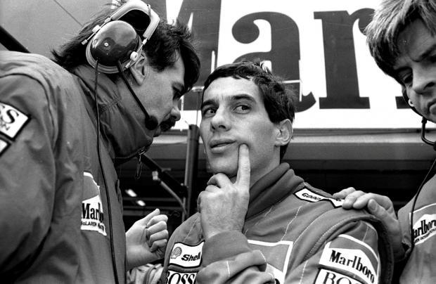 The legendary Ayrton Senna (centre) at the Monaco GP in 1988.