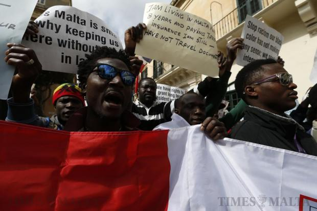 African immigrants demonstrate to call for a change in the system regulating migrant workers, more integration and protection of their basic human rights in Valletta on March 16. Photo: Darrin Zammit Lupi